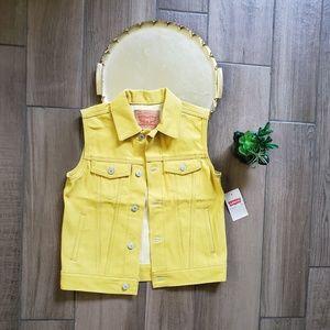 Levis Yellow denim jean jacket vest golden M S